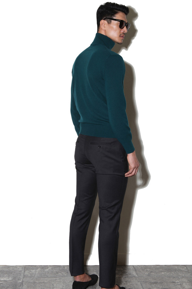 Take375 Royal cashmere turtleneck/dark green[black label series]
