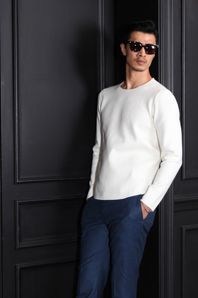 SOLID basic round knit/4color[slim fit]-수입한정모델!