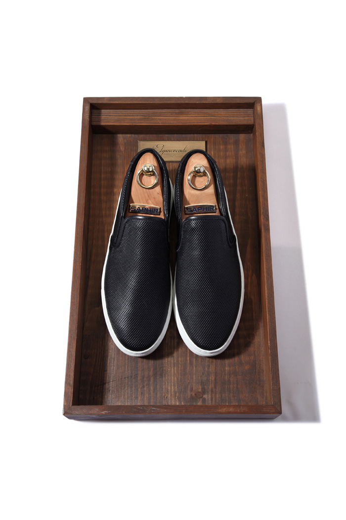 C.premium DIA slipon shoes/black[leather100%]