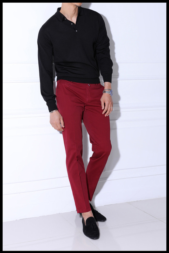 Take405 Larusmiani milano-italy garment dye pants/washed rose red