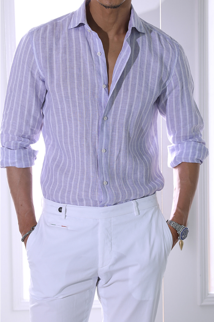 Take433 French linen stripe shirt/light purple