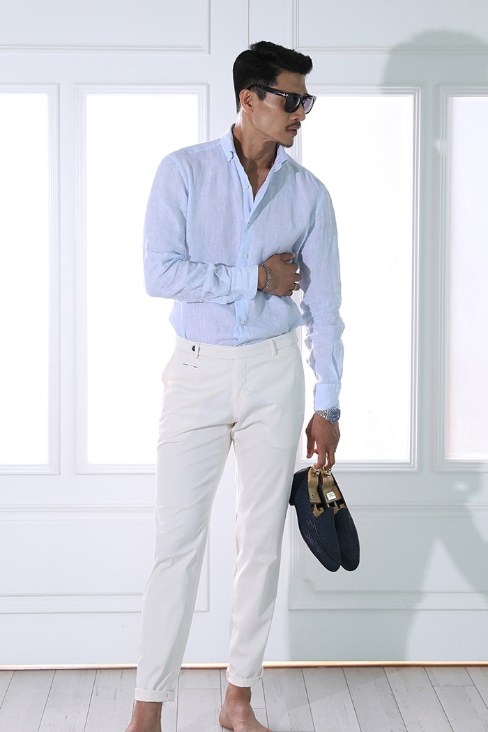 Take441 French linen shirt/poker blue-Best Seller!