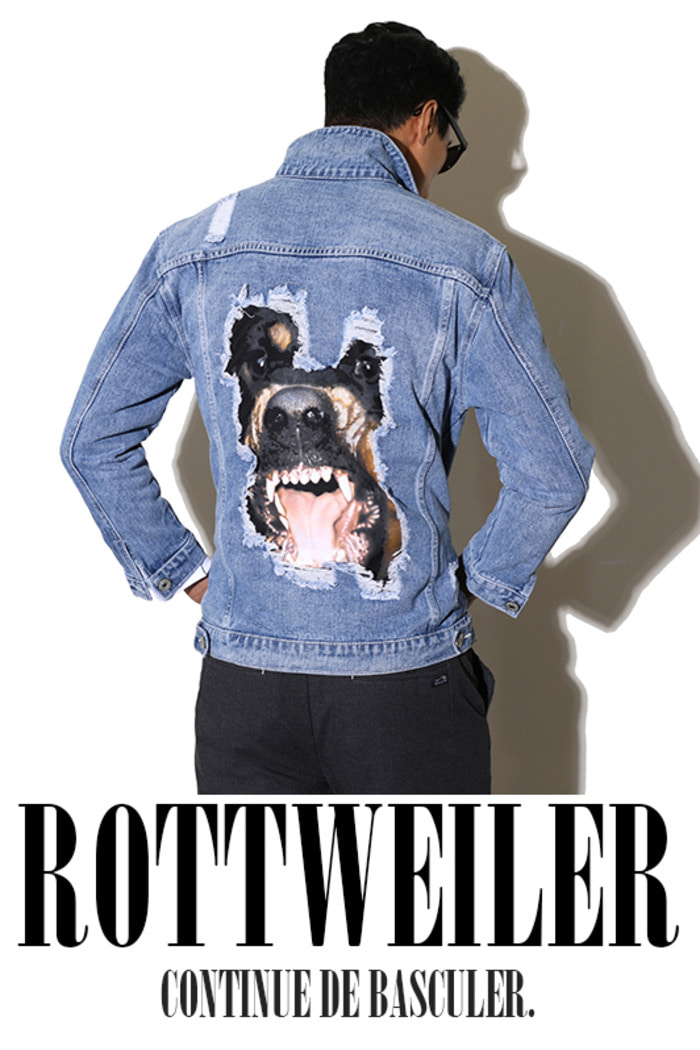 Rottweiler denim jacket-Light blue