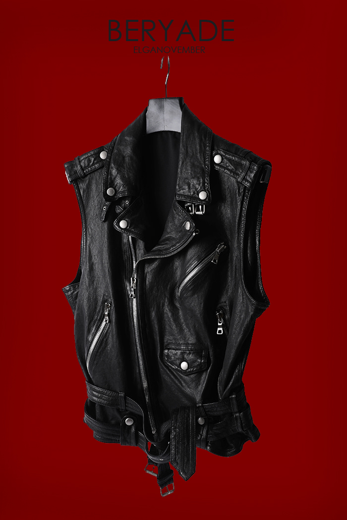 Beryade Leather Vest-Black