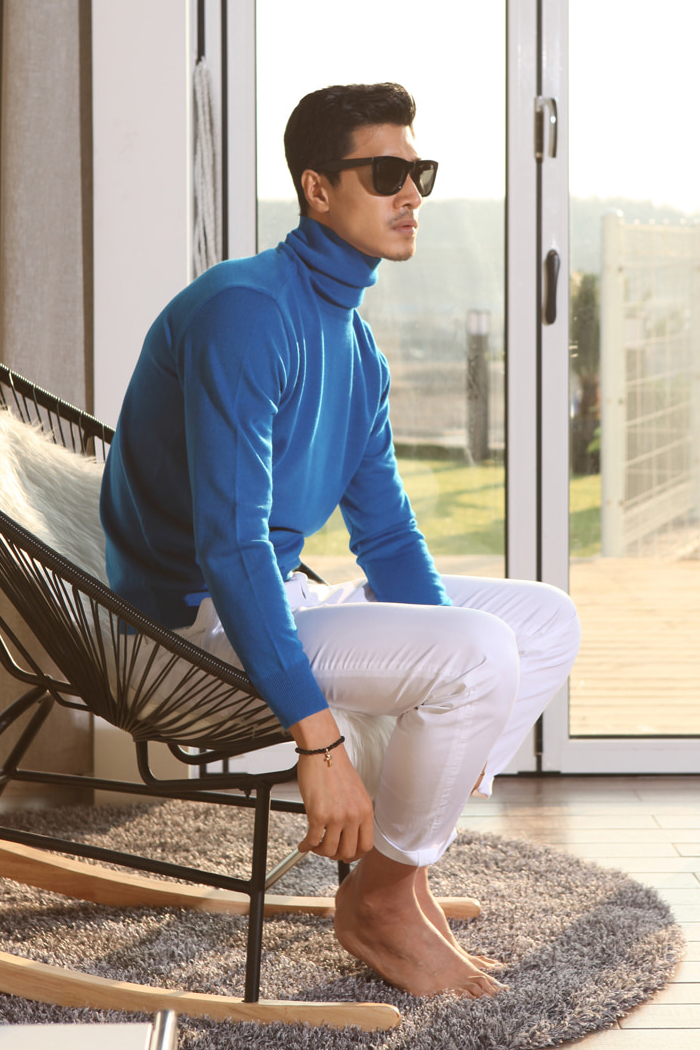 Colorize basic turtleneck/4color