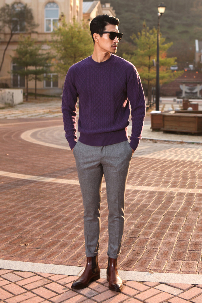 Take309 cashmere cable knit/purple[black label series]
