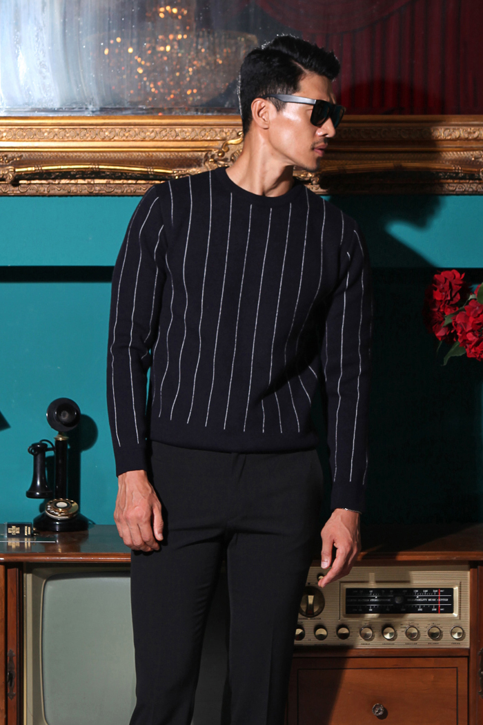 Pin stripe worsted wool knit/dark navy[special order project]-일부 사이즈 소량 재입고 완료!!