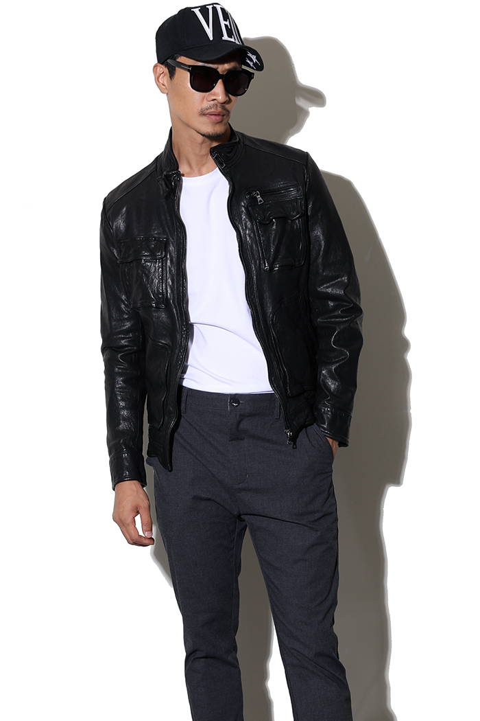 JASHUO pocket leather jacket-black