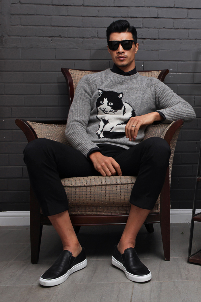 Gladian cat round knit/gray[slim fit]