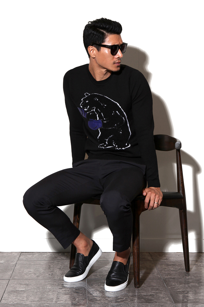 BEAR round knit/black[slim fit]