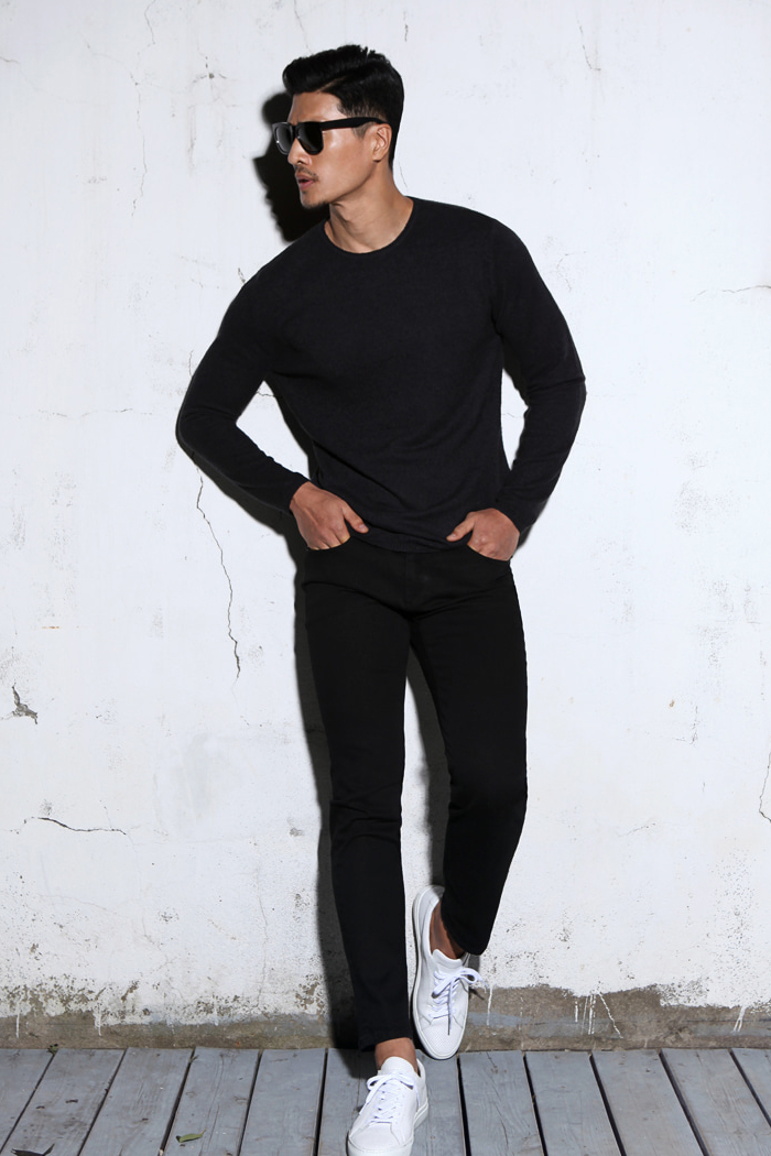 DIANA round knit/dark navy[slim fit]