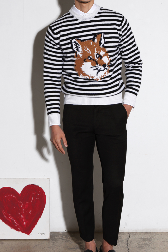 Fox intarsia stripe knit/black&ivory[special order project]