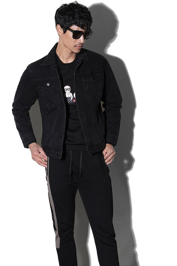 MAVINCHI BLACK DENIM JACKET