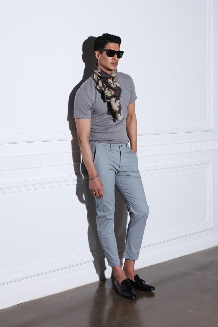 Outstan selected chino pants/light blue-gray-수입한정모델
