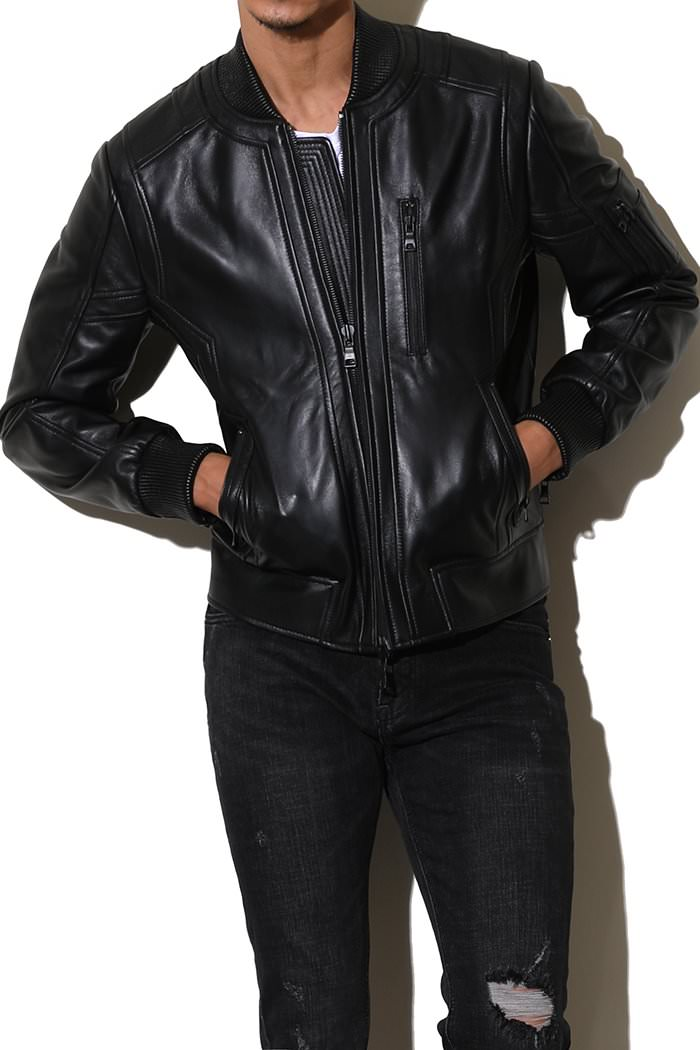 LAR ZIPPER LEATHER JACKET-BLACK