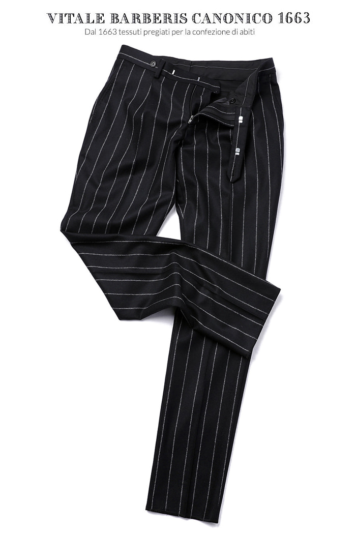 TAKE470 ITALY VITALE BARBERIS CANONICO 1663 STRIPE PANTS-BLACK이탈리아시리즈-품절임박!