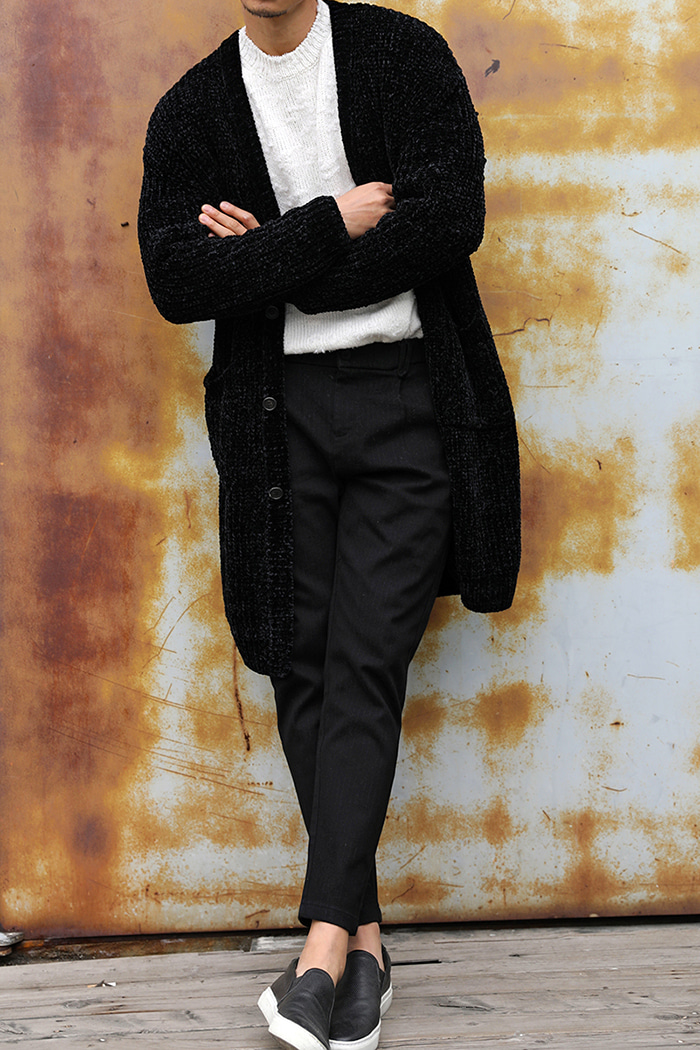 GRAMIGNA VELVET HEAVY LONG CARDIGAN-BLACK[Italy yarn]스페셜오더!