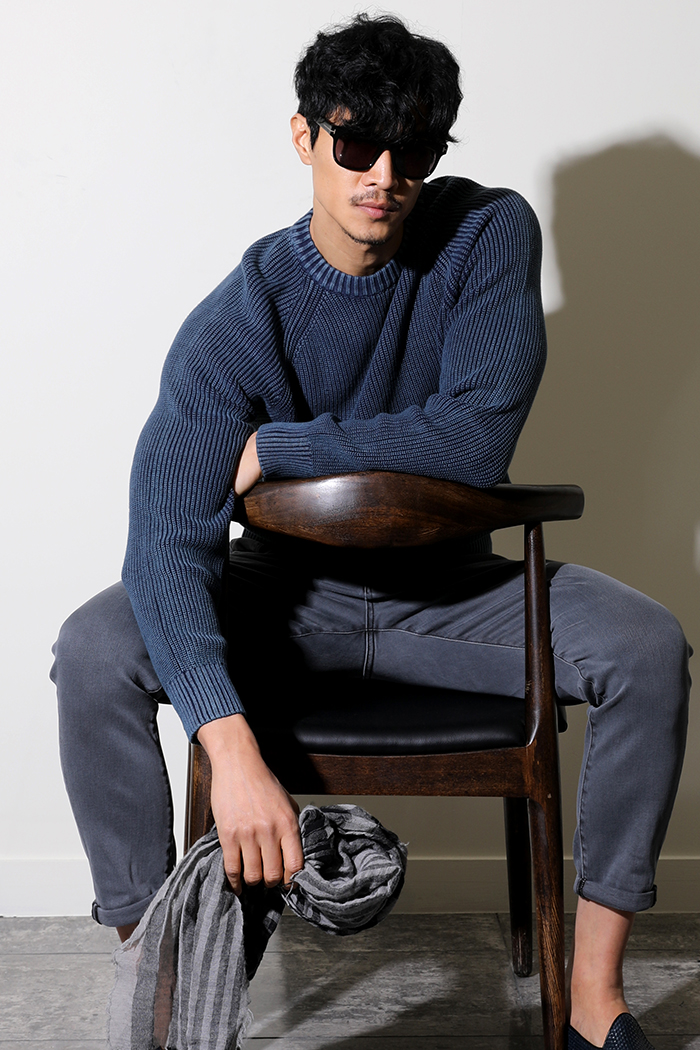 CHRIS WASHED ROUND KNIT-WASHED NAVY수입한정제품