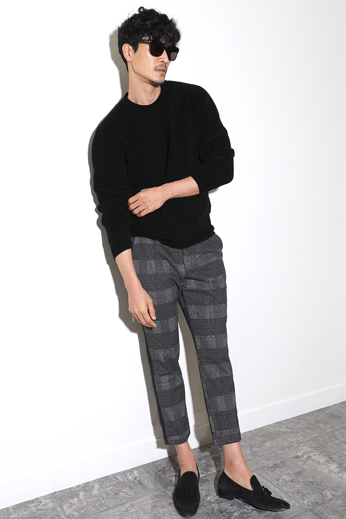 VELVET BASIC ROUND KNIT-BLACK[Italy yarn]스페셜오더!