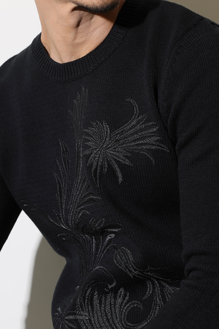 FLOWER EMBROIDERY ROUND KNIT-BLACK수입한정제품!