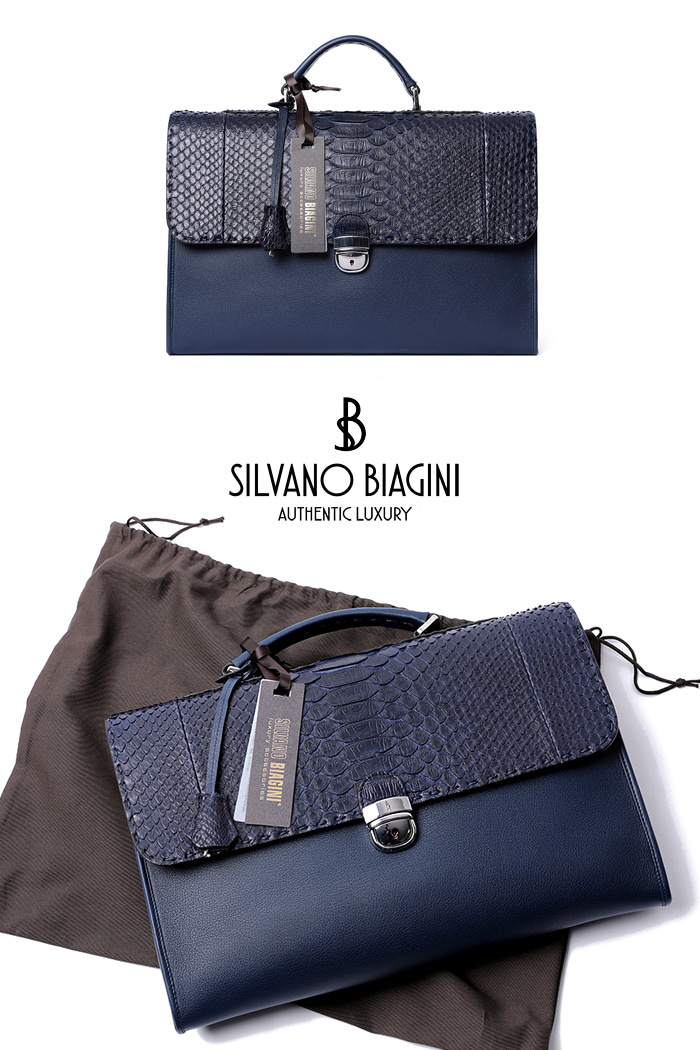SILVANO BIAGINI PHAETHON BRIEF CASE-NAVYSPECIAL ORDER-MADE IN ITALY