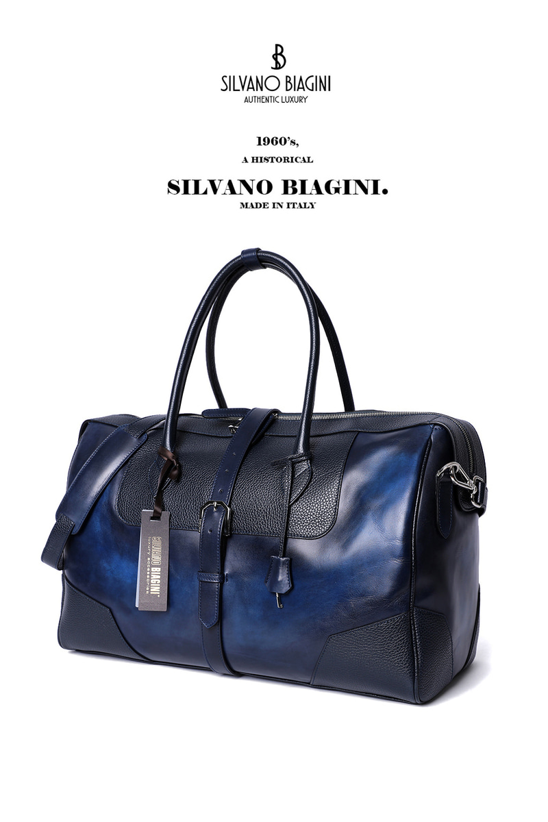 SILVANO BIAGINI BOSTON BAG-NAVYSPECIAL ORDER-MADE IN ITALY