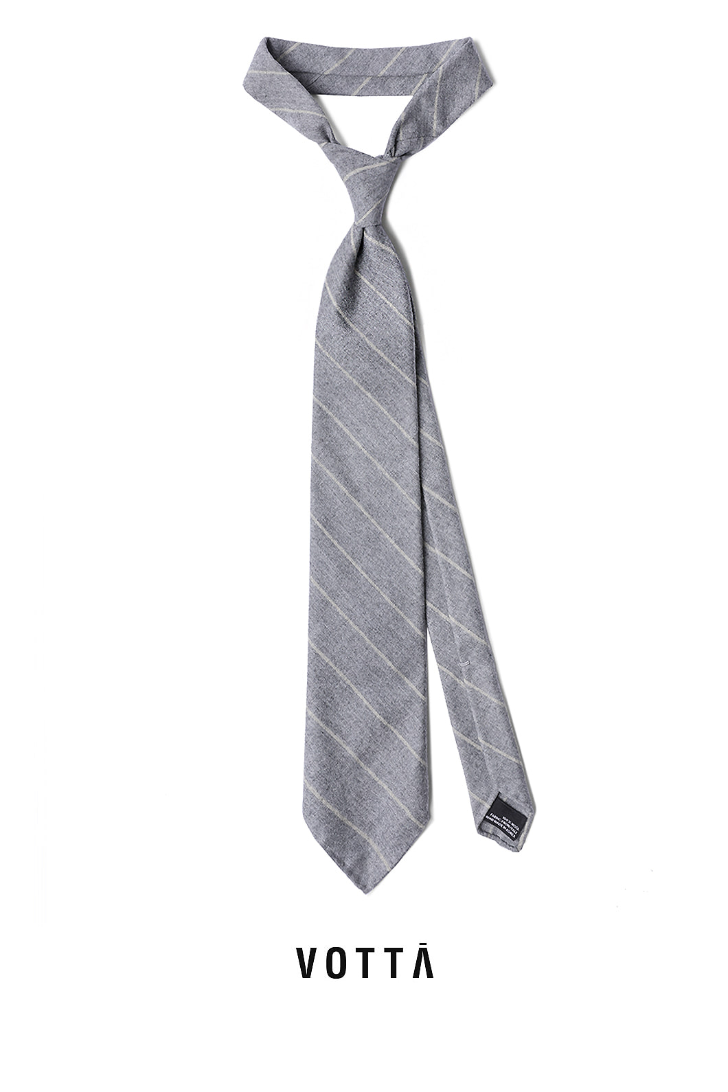 CANONICO STRIPE SPODERATO TIE-GRAY&YELLOWHAND MADE TIE[wool 100%]