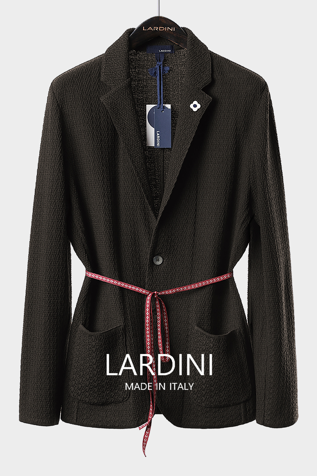 LARDINI SINGLE DIAMOND KNIT JACKET-BROWN[ITALY-Original]-극소량 한정!