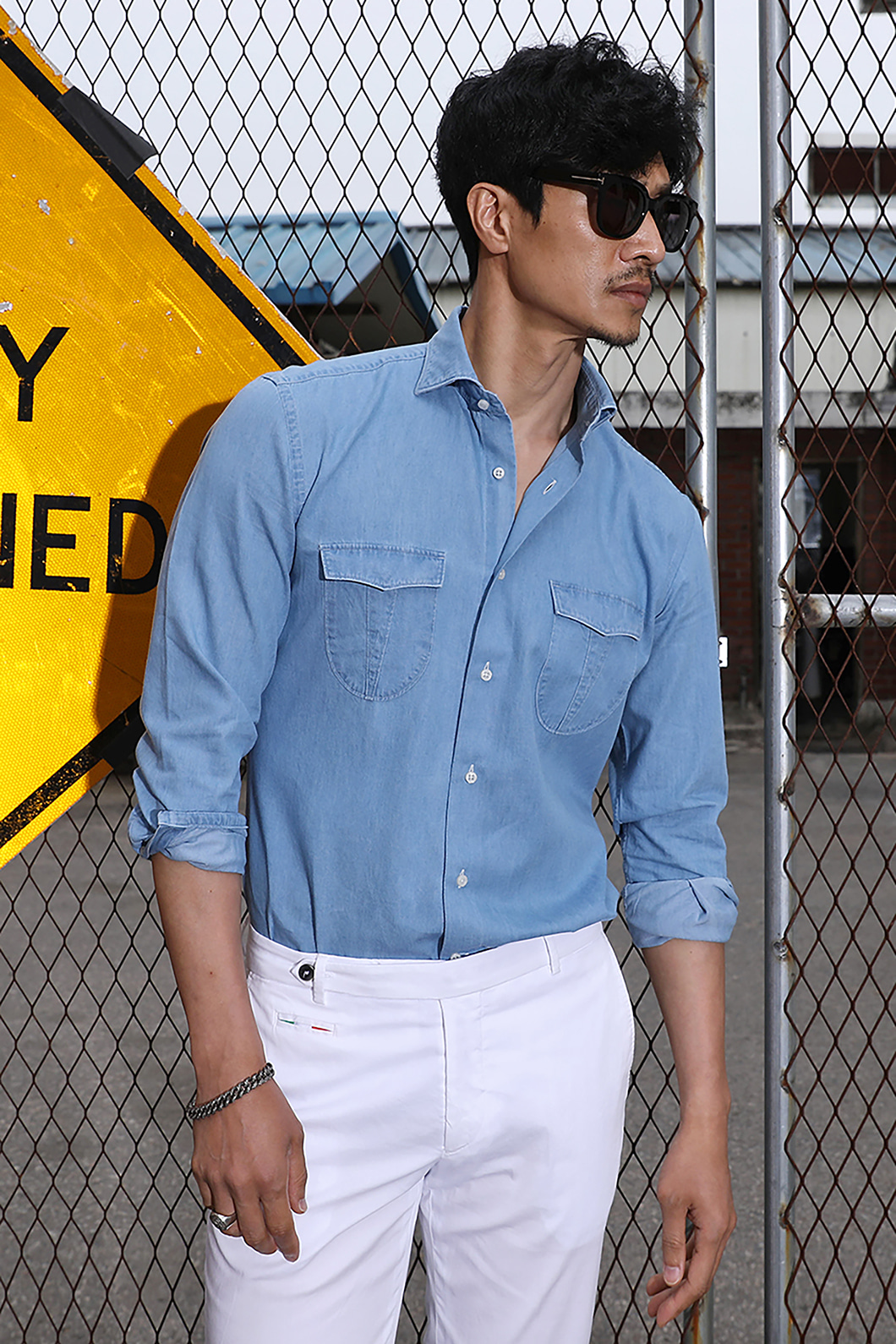 TAKE482 ITALIA A&C WASHED DENIM POCKET SHIRT-SKY BLUE2/3이상 판매완료-주간베스트셀러!