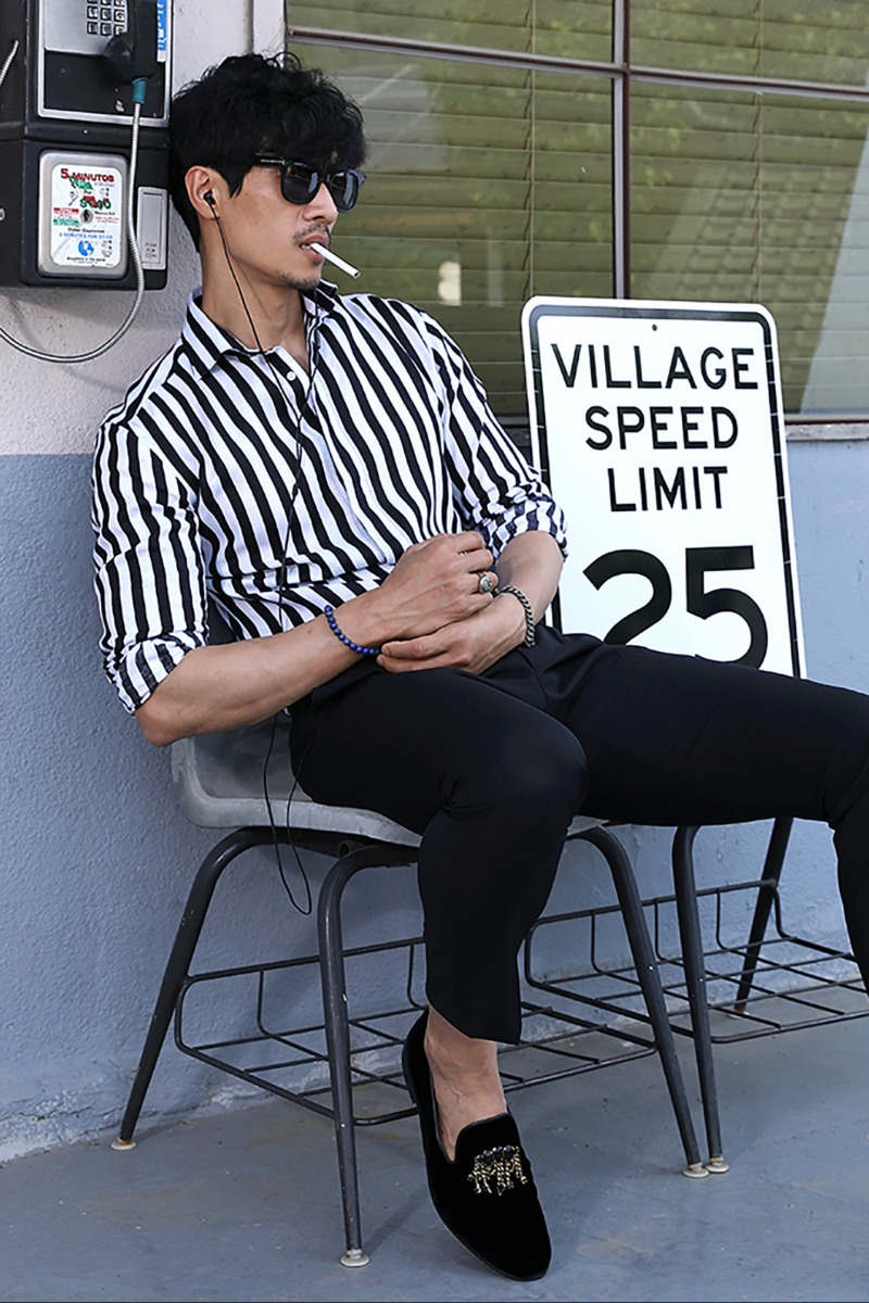 TAKE494 FRENCH LINEN STRIPE SHIRT/BLACK&WHITE