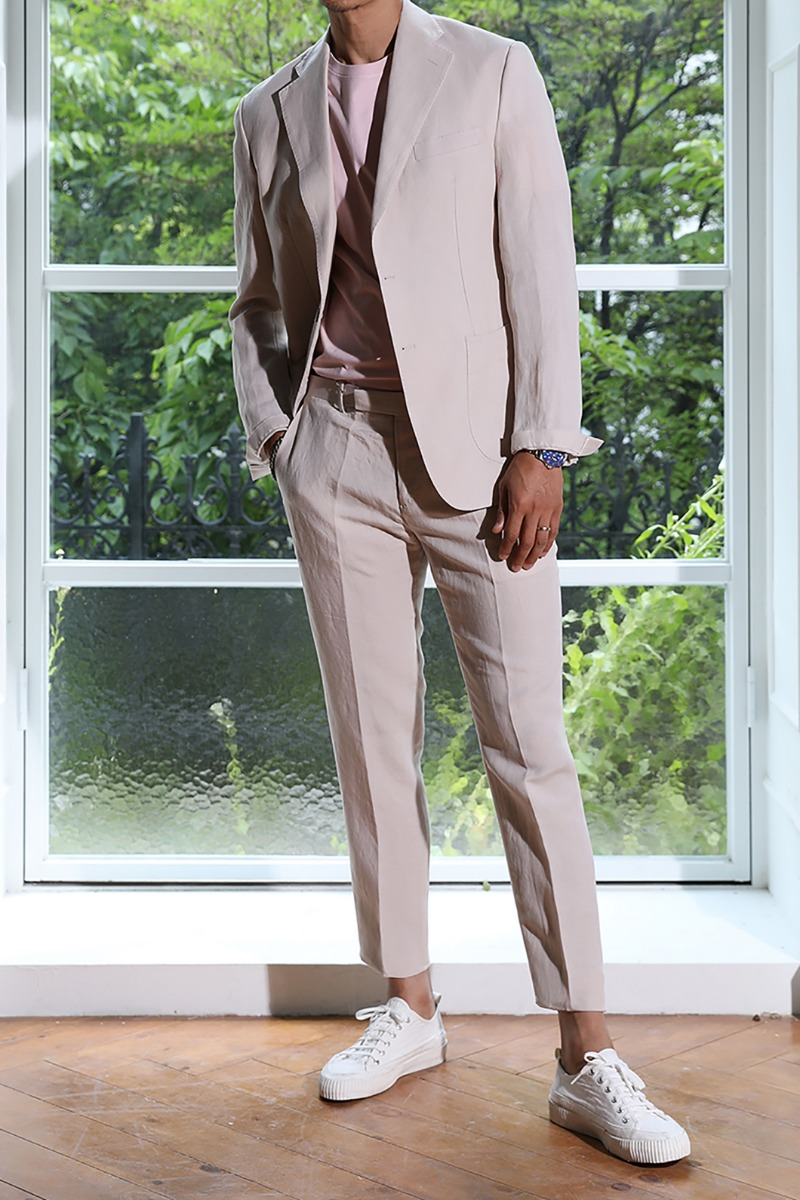 MASSIMINO SINGLE BREASTED LINEN SUIT-2COLOR