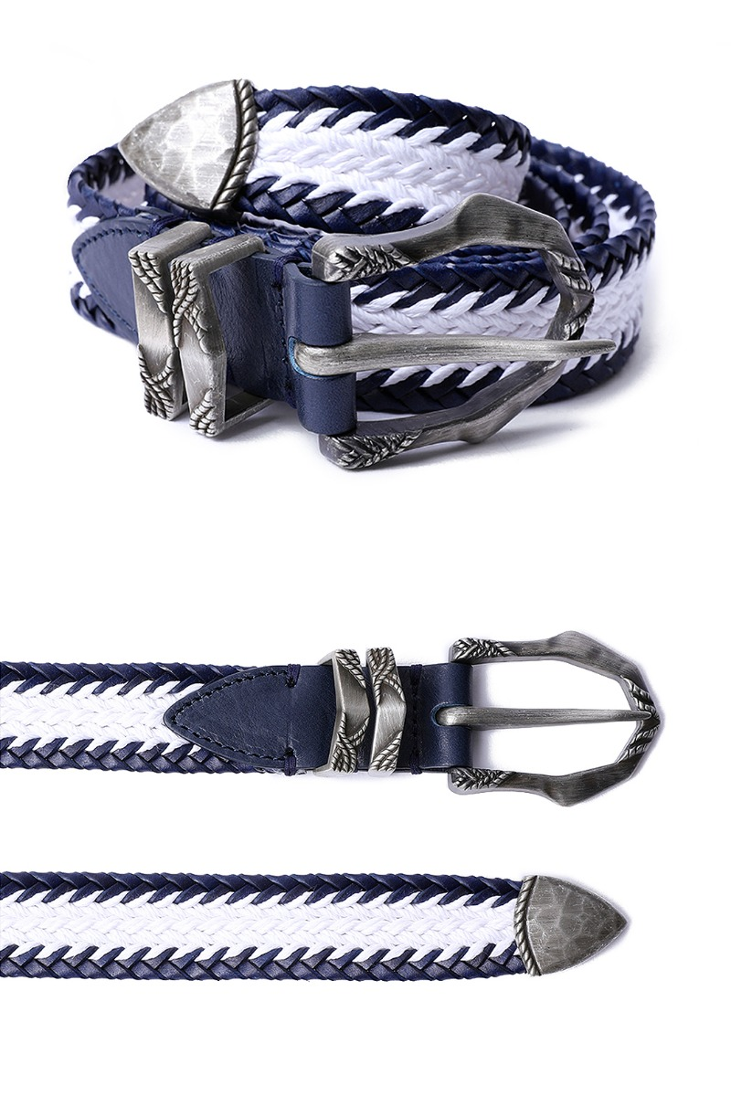 Savage 160 Weaving Belt-NavySpecial Order-Made in Italy