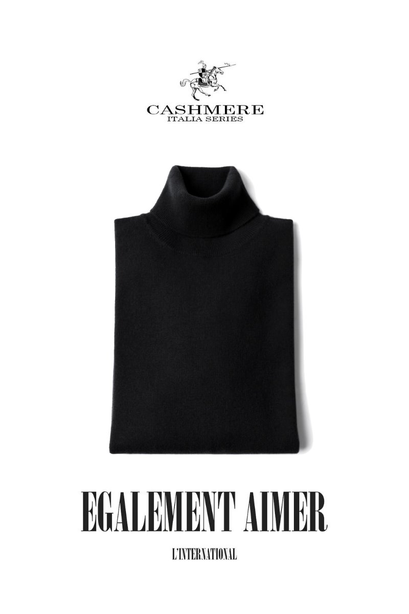 455 ROYAL CASHMERE TURTLENECK-BLACK