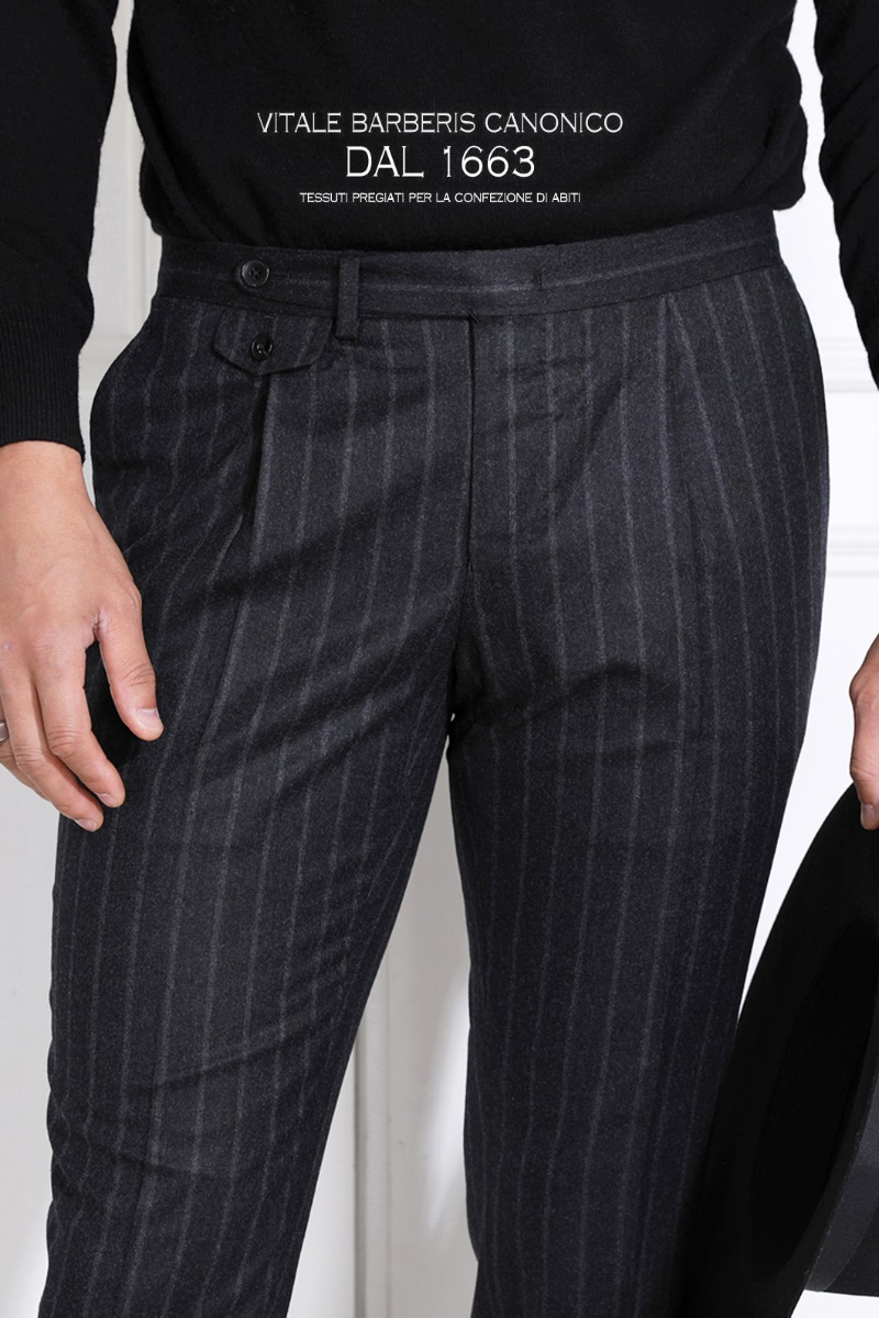 TAKE515 ITALY VITALE BARBERIS CANONICO 1663  STRIPE PANTS-CHARCOAL뉴 버전 출시기념 10%할인 이벤트-11월22일까지