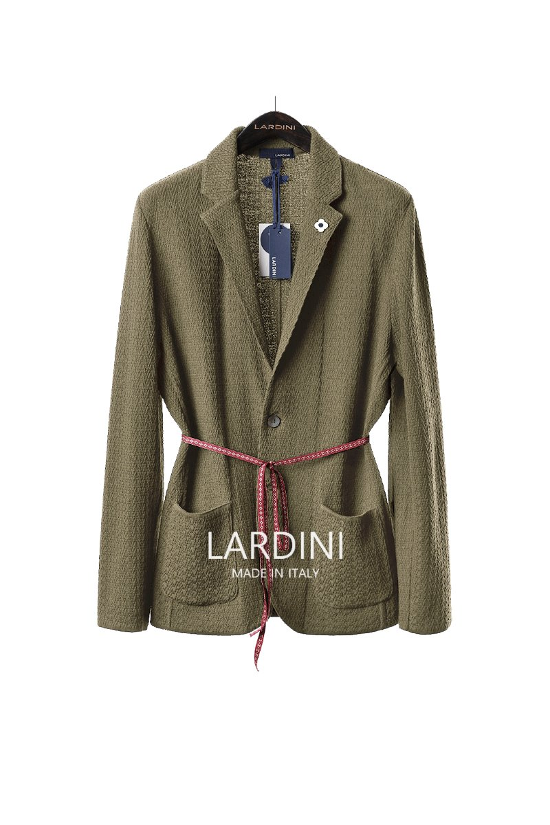 LARDINI SINGLE DIAMOND KNIT JACKET-BEIGE