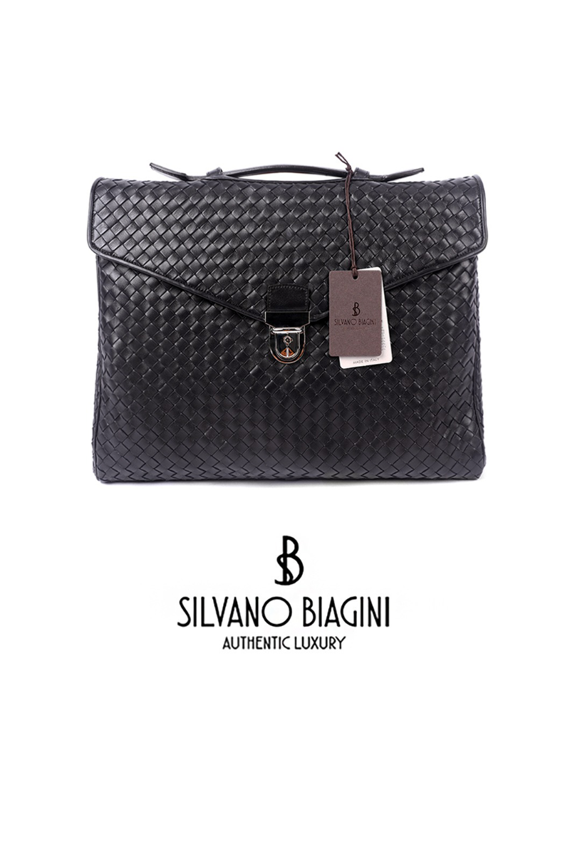 SILVANO BIAGINI ZNTRECCIO BRIEF CASE-DARK BROWN