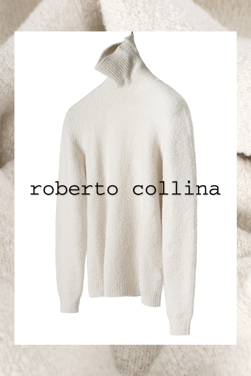 ROBERTO COLLINA Soft Boucle Turtle Neck Knit-White(Ivory)소량 한정