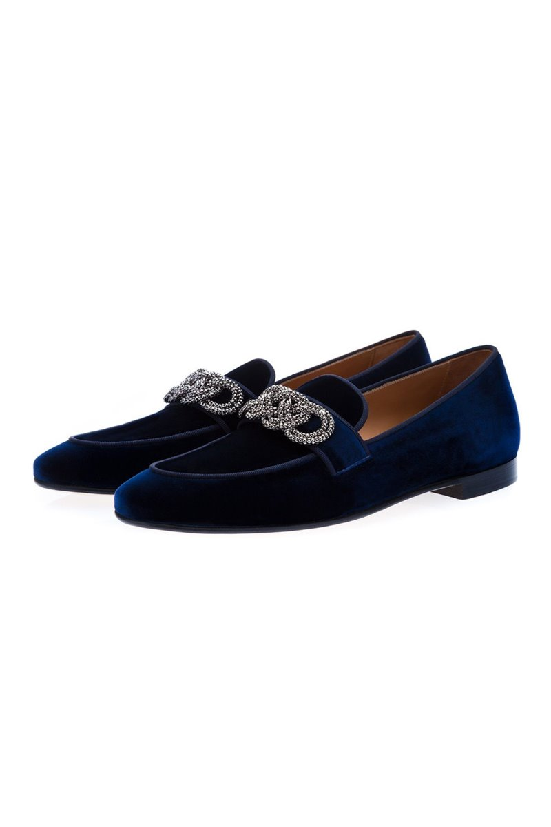 MOROSINO VELOUR NAVY SLIPPERS