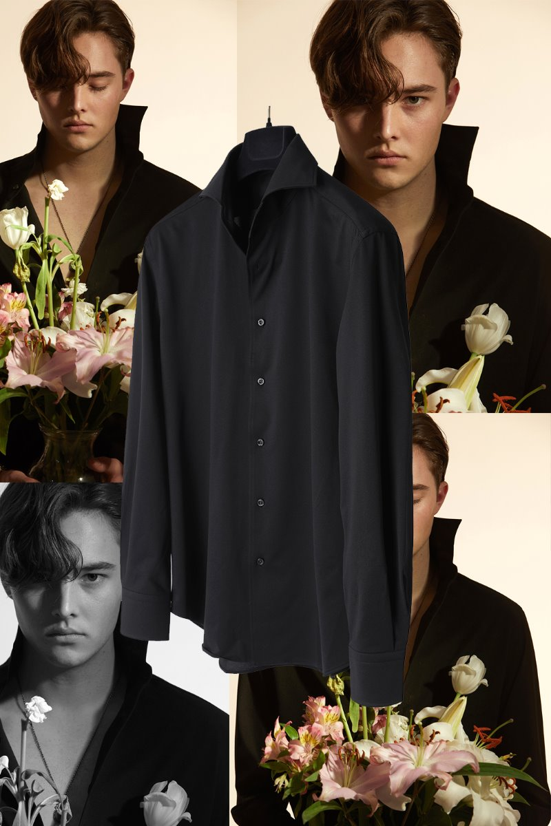 565 ITALIA ONE-PIECE COLLAR SHIRT-BLACK적극추천-품절임박